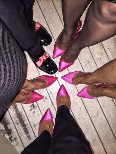 Odd One Out Shoes Stilletos Legs Feet Pink Shoes Theme Men Odd Pointing Feet Standing Group Of People Group Legs_only Legs Up Legs Legs Legs Legs And Feet Legs_only Legs & Floor Pink Color Pink Theme Pinkitude In A Crowd Women Stockings