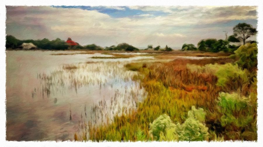 Evening on the Bay Agriculture Beauty In Nature Day Distant Field Grass Landscape Nature Non-urban Scene Outdoors Painterly Relaxing Moments Remote Rural Scene Sand Scenics Tranquil Scene Tranquility