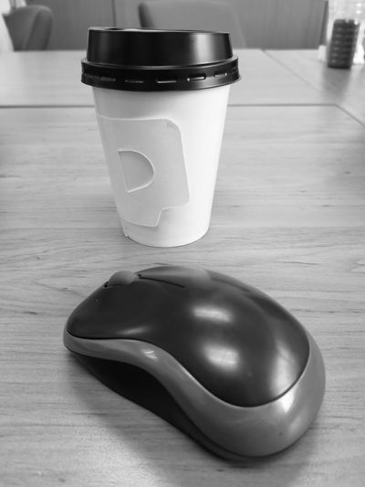 Tool of work Coffee Mouse Working IT Aluminum Table Close-up Beverage