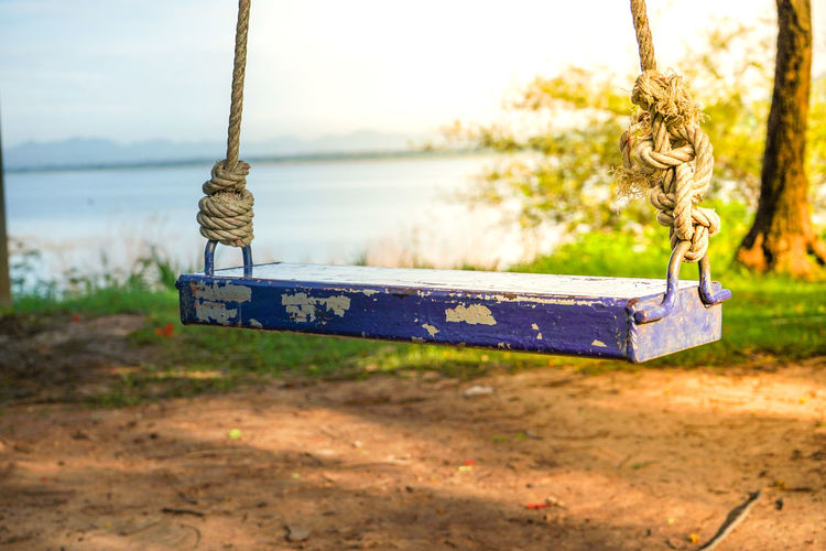 Absence Bench Chain Close-up Day Empty Focus On Foreground Hanging Land Metal Nature No People Outdoor Play Equipment Outdoors Park Playground Rope Seat Swing Wood - Material