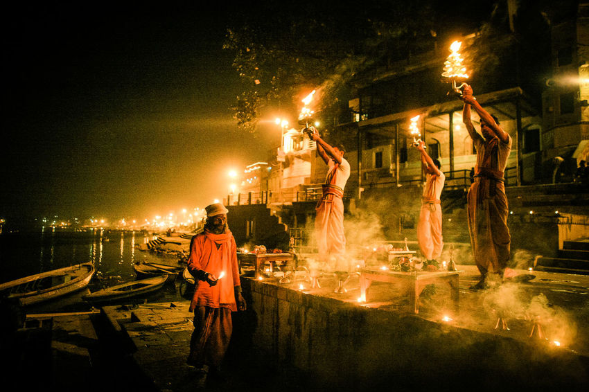 #India #varanasi #Puja Night Real People Street City #ceremony