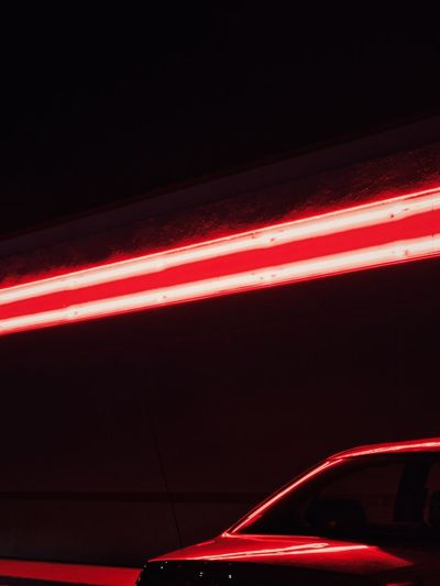 Close-up of illuminated car at night