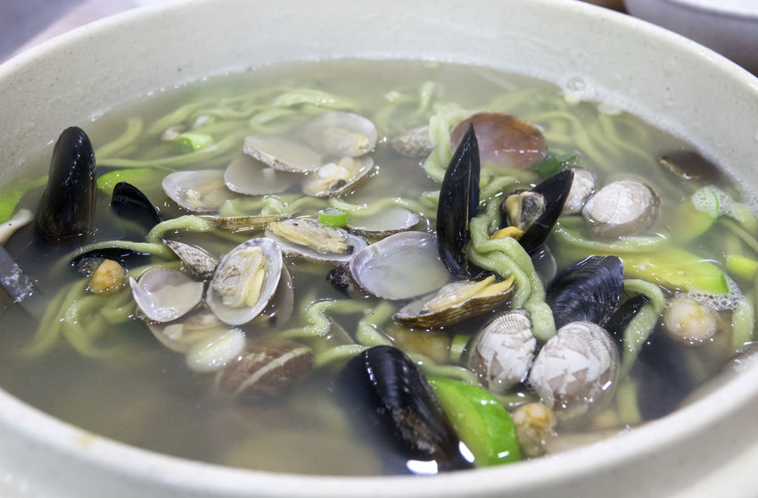 Korean food Bowl Close-up Day Food Food And Drink Food And Drink Freshness Healthy Eating High Angle View Indoors  No People Noodle Ready-to-eat Seafood Noodle Shell Soup