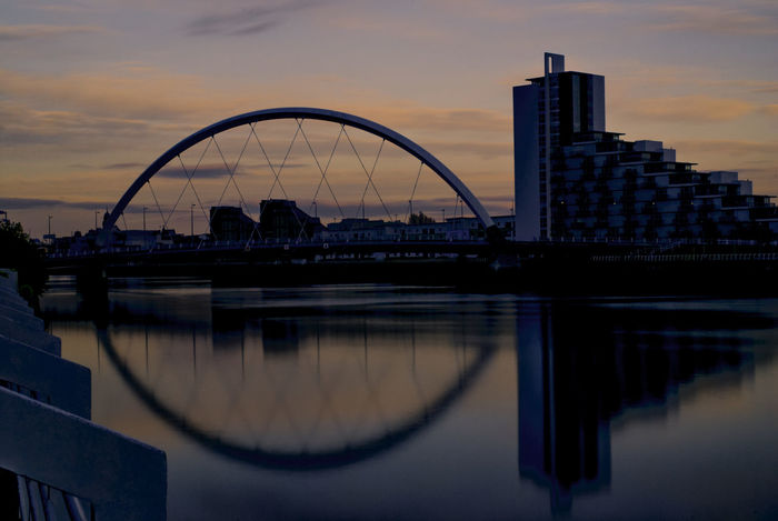 Clyde Arc and it's 'life circle' Glasgow  Architecture Bridge Bridge - Man Made Structure Building Building Exterior Built Structure City Cityscape Cloud - Sky Clyde Arc Connection Modern Nature No People Outdoors Reflection River Sky Skyscraper Sunset Travel Destinations Water Waterfront The Architect - 2018 EyeEm Awards