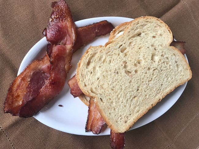 Bacon sandwich from overhead Bacon Butty Bacon Sandwich Bread Brown Cloth Day Delicious Fabric Indoors  Lunch Meal Napkin No People Overhead Phone Camera Platter Pork Ready-to-eat Savory Food Sliced Bread Textures Wholegrain