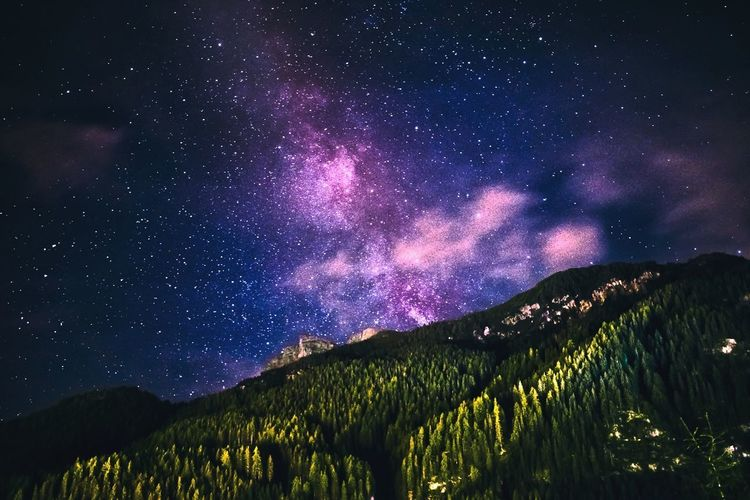 Night Mountain Space And Astronomy Star - Space Astronomy Milky Way Galaxy Landscape Scenics Space Mountain Range Outdoors Nature Sky No People Constellation Beauty In Nature Star Trail The Week On EyeEm Light And Shadow Nikond3300 Travel Travel Destinations EyeEm Selects Rock