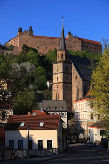 old city and castle Plassenburg and church Petrikirche of Kulmbach, Frankonia, Bavaria, Germany Plassenburg Architecture Blue Building Building Exterior Built Structure City Clear Sky Day History House Kulmbach Nature No People Old Outdoors Residential District Sky Sunlight The Past Travel Destinations Tree