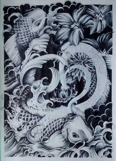 Drawing Carpe Giapponesi Drow