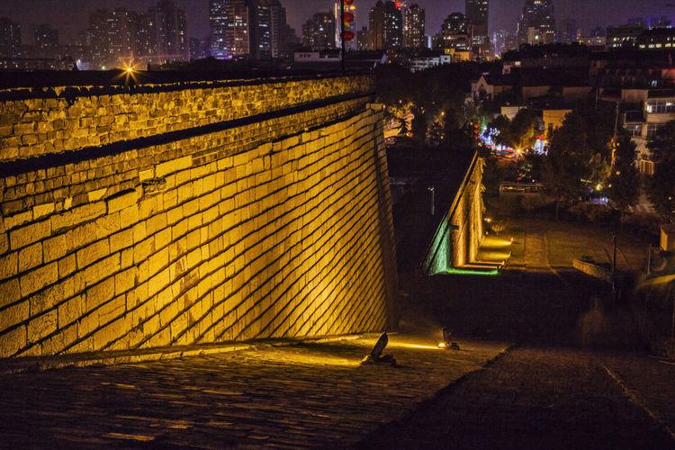 Illuminated Gate Of China At Night In Nanjing