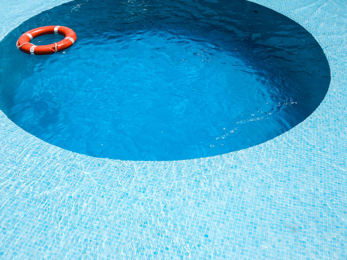 High angle view of inflatable ring floating on water