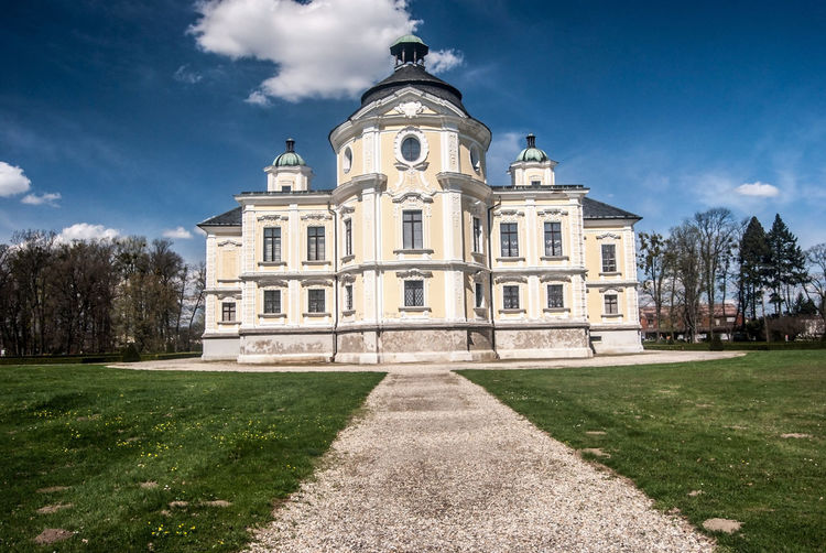 Kravare chateau near Opava city in Czech republic during nice spring day with blue sky and only few clouds Castle Czech Republic Kravare Architecture Baroque Architecture Blue Sky With Clouds Building Building Exterior Built Structure Château Cloud - Sky Grass History Outdoors Pathway Sky The Past