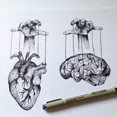 I think this piece speak for it self Ink Archivalink Micron Pigmamicron Sketch Heart Brain