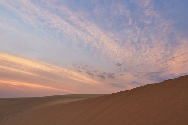 Landscape Sky Land Environment Scenics - Nature Cloud - Sky Sand Beauty In Nature Sunset Desert Tranquility Nature Sand Dune No People Tranquil Scene Horizon Horizon Over Land Climate Dramatic Sky Dusk