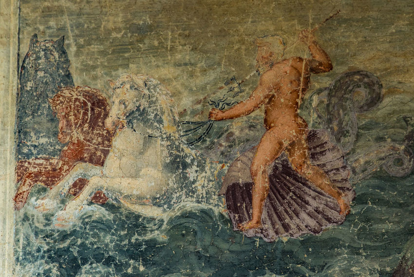 Ancient Ancient Civilization Art Art And Craft ArtWork Cicogna Close-up Day Fresco God God Of The Sea Hippocampus Indoors  Italy Lombardia Myths And Legends  Neptune No People Painting Renaissance Restoration Sea Life