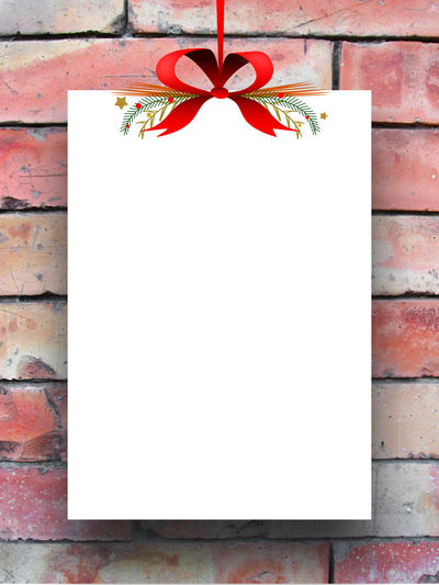 One empty rectangular paper sheet frame with Xmas ribbon decoration on brick wall background 1 Background Blank Canvas Christmas Empty Frame Image One Paper Photo Portfolio Poster Product Photography Product Placement Rectangular Frame Red Brick Wall Red Ribbon Sheet Tag Template Textures And Surfaces Typography White Xmas