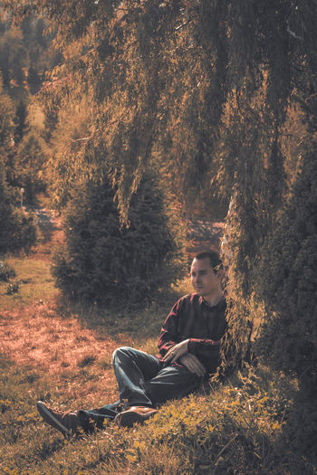 Man looking away while sitting at forest