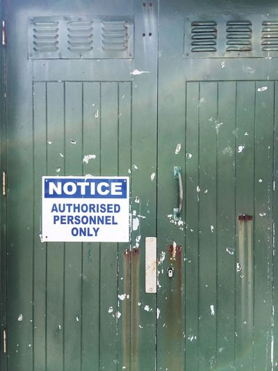 Notice authorised personnel only Sign Authorized Personnel Only Green Doors Closed Door Security Text