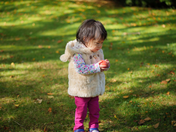 Baby girl holding apple while standing on grassy field