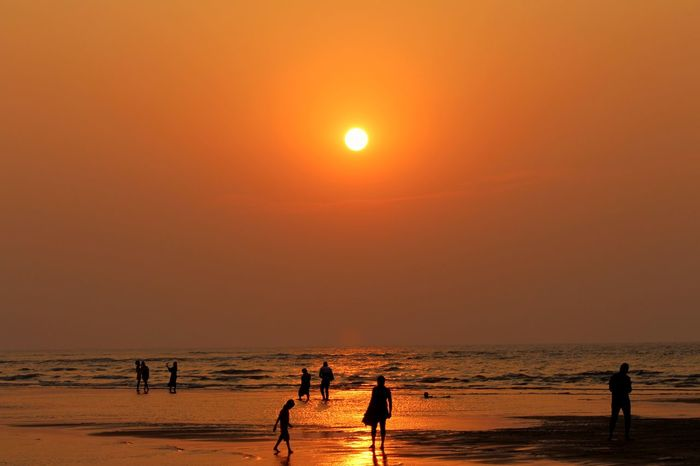 Sunset Beach Sun Sand Sea Water Orange Color Vacations A New Beginning