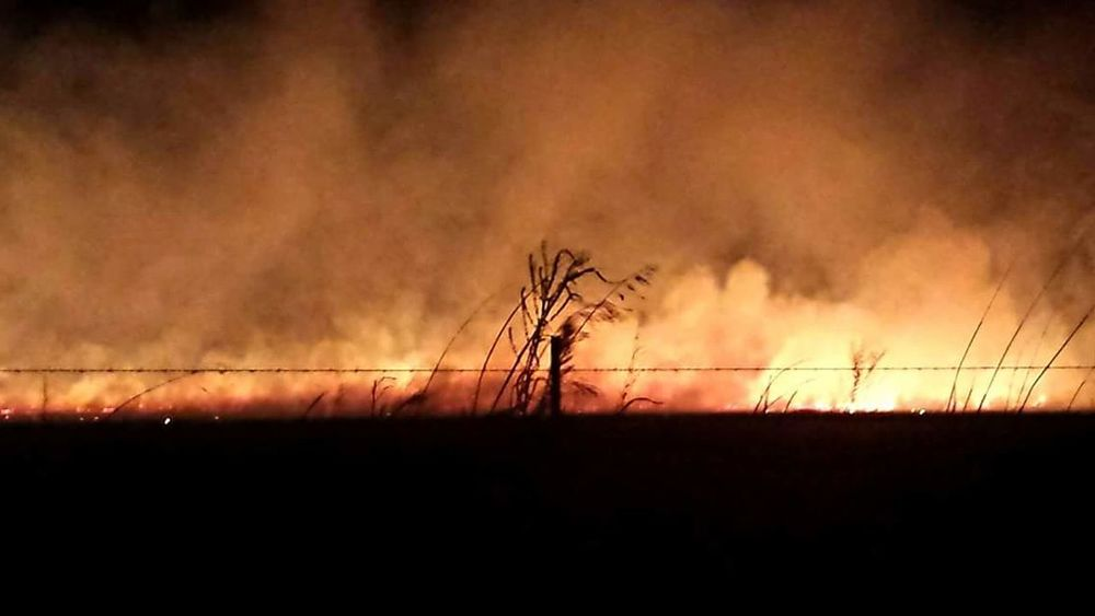 Grass Fire burning Oklahoma field