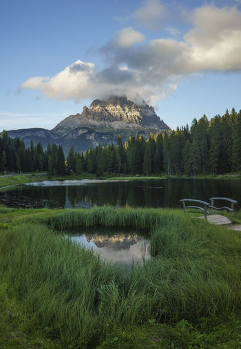 Scenic View Of Lake Misurina And Mountain Against Sky
