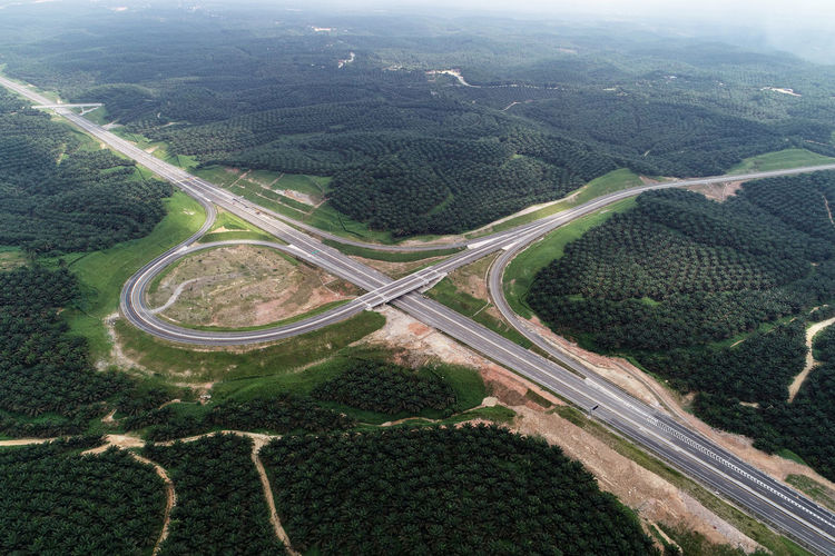 High angle view of road amidst agricultural landscape