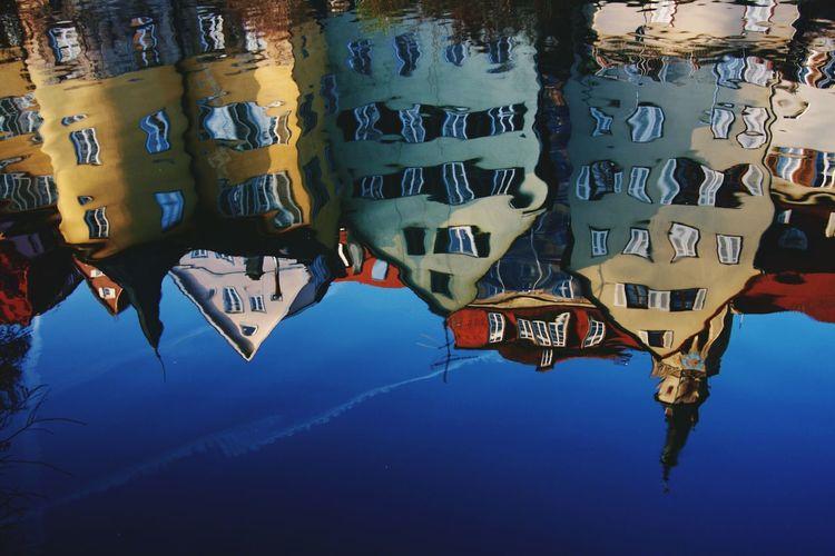 Tübingen Water Reflections Neckarzeile Colorfull