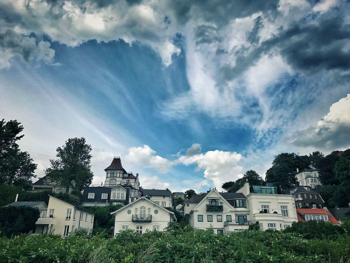 Houses on a hill Blankenese Architecture Built Structure Building Exterior Cloud - Sky Building Sky Tree Residential District House Plant No People Nature Day Low Angle View Outdoors