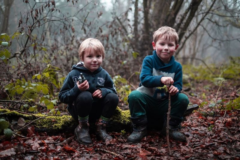 Men Males  Two People Child Childhood Tree Boys Full Length Nature Forest Looking At Camera Land Portrait Togetherness Day Front View Plant Leaf Family Innocence Outdoors Son WoodLand Boys Will Be Boys BoysBoysBoys Boystyle