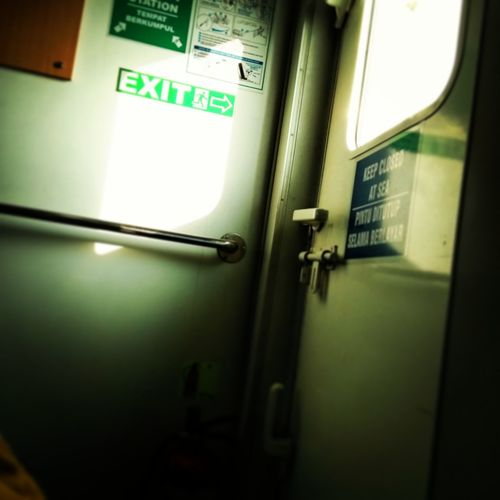 Exit Sign Green Color Vehicle Interior No People Indoors  Day First Eyeem Photo