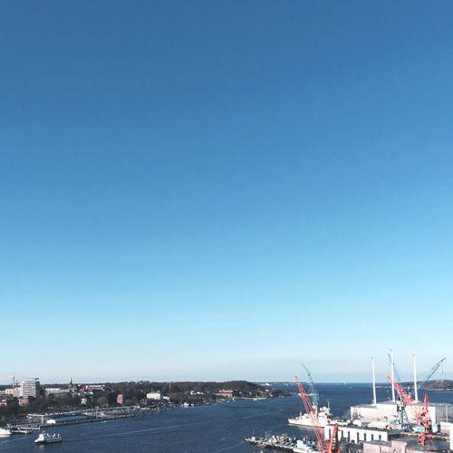Skyline Sky Landscapes With WhiteWall Light And Shadow Landscape_Collection Kieler Förde Kielerwoche View From Above Seaside Ausblick Kiel Waterfront Crane HDW Shipyard Werft Meer