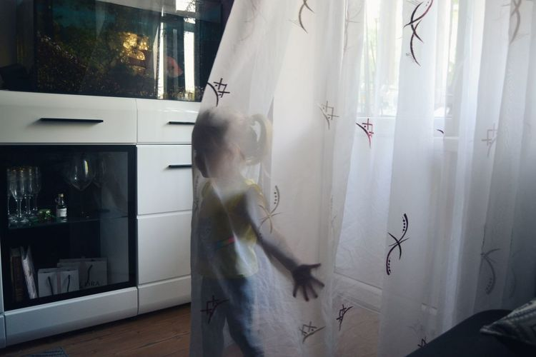 Playing Standing Home Interior Child Curtain Ghost Mystery Children Spooky