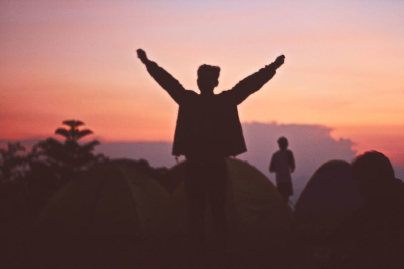 Adult Adults Only Arms Raised Cheerful Cheering Dusk Happiness Human Arm Human Body Part Men Nature Outdoors People Silhouette Sky Sunset Inner Power Go Higher