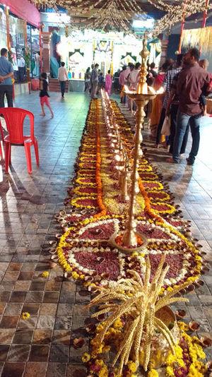 to celebrate Hindu god in Mumbai with flowers decoration and lights Celebration