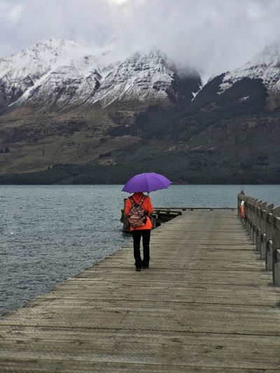 Snowy Mountains Lady Umbrella Wharf Pier Lake