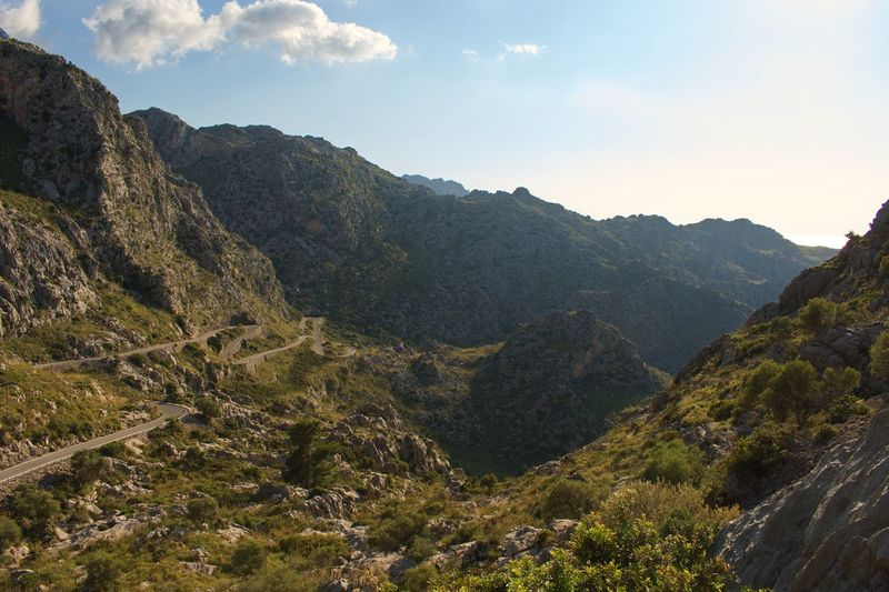The mountains in Mallorca Serra De Tramuntana Tramuntana Tratrttt Balearic Islands Mallorca Winding Road Mountain Beauty In Nature Scenics - Nature Tranquility Tranquil Scene Nature Sky Mountain Range Environment Non-urban Scene Idyllic Day Cloud - Sky Land Outdoors Landscape No People