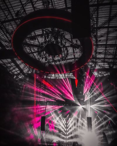 Illuminated Lighting Equipment Red Low Angle View Built Structure Night No People Indoors  Architecture Light Beam Building Exterior Close-up IPhoneography ArminOnly Amsterdamarena Amsterdam Johancruyffarena The Architect - 2017 EyeEm Awards
