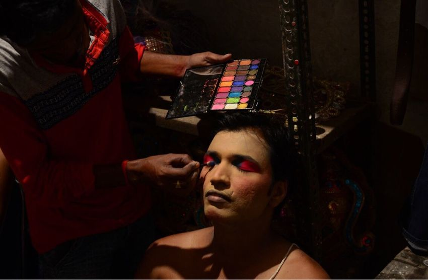 An indian artist , dressed as Hindu God King Rama, gets make up to perform his role in traditional ramleela , a play narrating the life of Hindu God King Rama , in the old streets of allahabad, india. Real People Make-up People India Photojournalism Photojournalist RamLeela  Allahabad ASIA Life Event Theatrical Performance Skill