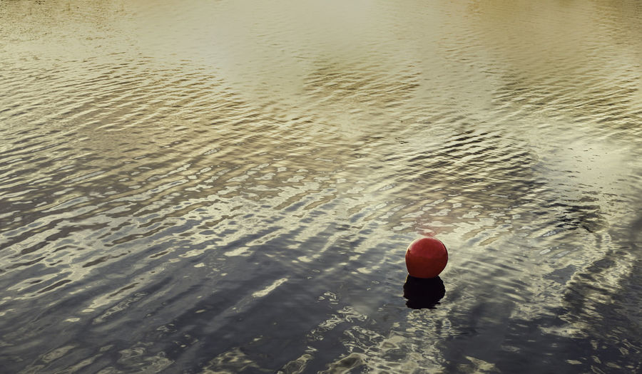 Red buoy marking the bathing area, with the reflections of the sunset sun on the water Isolated Orange Red Buoy Ball Beauty In Nature Buoy Day Floating Floating On Water High Angle View Nature No People Outdoors Red Reflection Reflections In The Water Rippled Sea Sunrise Sunset Tranquil Scene Tranquility Water Waterfront