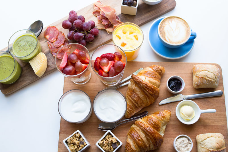 Breakfast Brunch Close-up Coffee - Drink Coffee Cup Croissant Day Drink Food Food And Drink Freshness Healthy Eating High Angle View Indoors  No People Plate Ready-to-eat Refreshment Table Variation