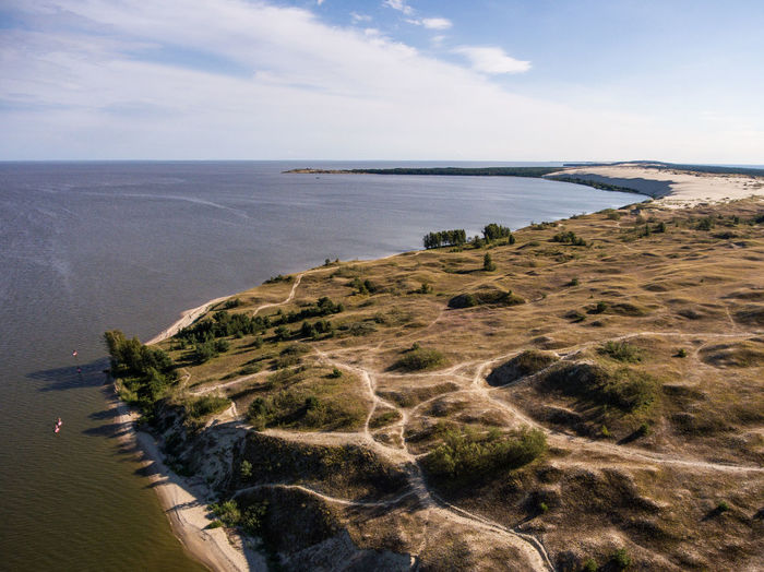 Curonian spit Curonian Spit Lithuania Nida Sand Dune Sand National Park Nature Reserve UNESCO World Heritage Site Curonian Lagoon Aerial View Aerial Drone  Unesco Baltic Sea Seaside Seascape Coastline No People Summer Scenics - Nature Landscape Beach Horizon Outdoors Bay