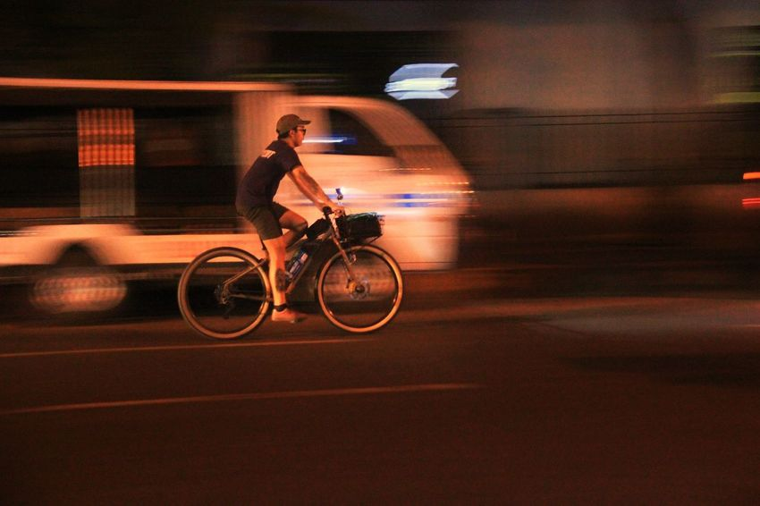 EyeEmBestPics EyeEm EyeEm Gallery EyeEm Best Shots Biking Panning Panning Shoot Panningphotography Blurred Motion Street Night Transportation One Person Land Vehicle Bicycle Mode Of Transport Speed Cycling City Road Men Adult One Man Only