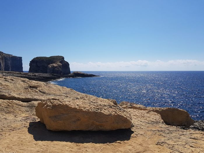 Fungus Rock view, Gozo No Filter No Edit Malta Mediterranean  Fungus Rock Gozo Island Malta Water Sea Beach Clear Sky Blue Sand Summer Rock - Object Sky Horizon Over Water Rocky Coastline Seascape