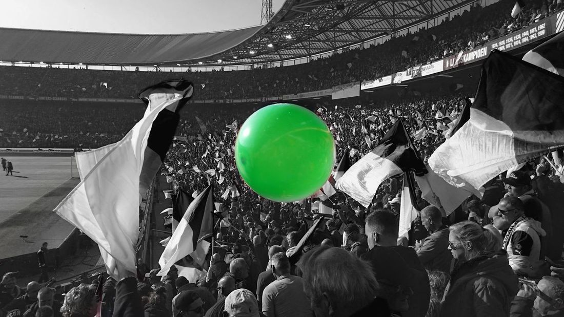 Balloon Green Crowd Contrast Feyenoord Stadium Feyenoord Rotterdam The Match Of The Day (c) 2016 Shangita Bose All Rights Reserved De Klassieker Feyaja Ajax Amsterdam De Kuip Architecture Real People Feyenoord Legion! Rotterdam Audience Flags Monochrome Photography Colorsplash Love The Game