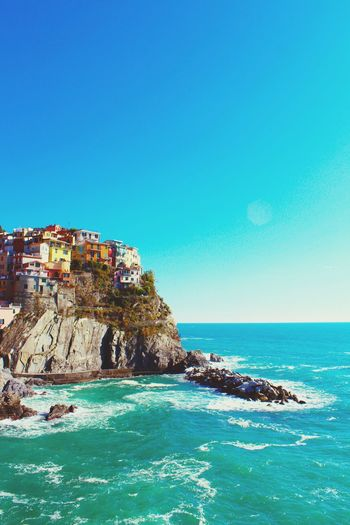 Sea Blue Travel Destinations Travel Tourism Scenics Beach Idyllic Clear Sky Tranquility Architecture Landscape Vacations Water Nature No People Sky Outdoors Day Beauty In Nature EyeEmNewHere Best EyeEm Shot EyeEm NatureLover Tranquility Cinque Terre