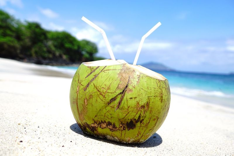Travel Photography Beach Vacations Baliphotography Beach Fruit Sand Food And Drink Nature Land Close-up Food Coconut Focus On Foreground Drinking Straw Sea Healthy Eating Straw Water Day Sunlight No People Sky Freshness