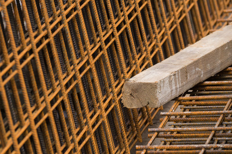 Backgrounds Beam Closeup Construction Construction Site Construction Work Detail Focus On Foreground Industry Material Rusty Rusty Things Selective Focus Steel Steel Grids Wood - Material Wood Beams Wooden