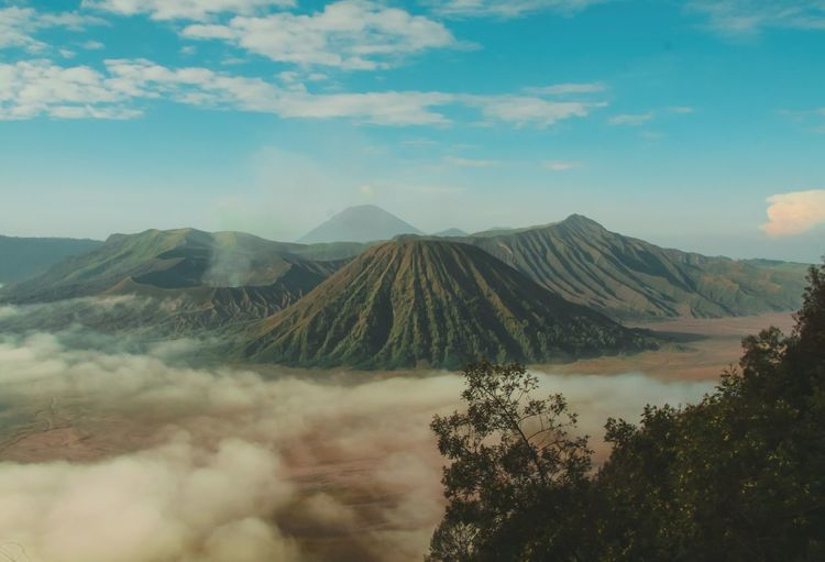 Panoramic view of bromo mountain landscape against sky