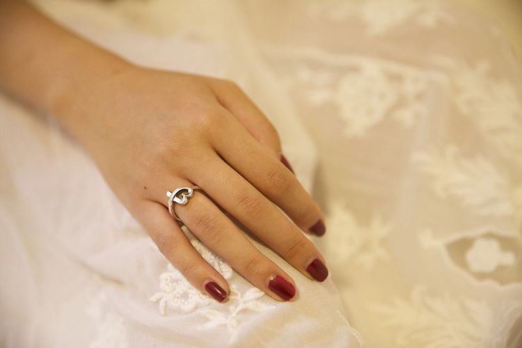 Close-Up of Woman Hand Wearing Ring