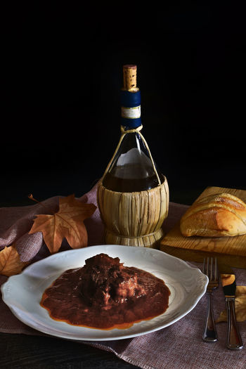 oxtail stew Bread Meat Still Life Bull Oxtail Tasty Delucious Spanish Food Bread Tasty Still Life Restaurant Gastronomy Wine Food And Drink Wine Bottle Wine Bottle Food Wineglass Table